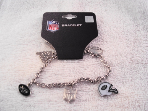New York Jets NFL 5 CHARM Silver 8'' Bracelet *CLOSEOUT*