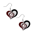 Alabama Crimson Tide NCAA Silver Swirl Heart Dangle Earrings