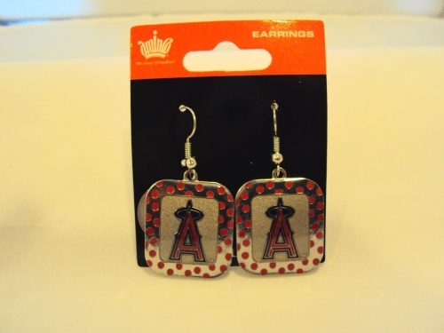 Los Angeles Angels MLB Polka Dots Silver Dangle Earrings *CLOSEOUT*