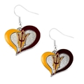 Arizona State Sun Devils NCAA Silver Swirl Heart Dangle Earrings