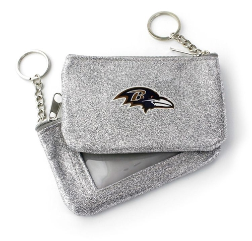Baltimore Ravens NFL Silver Sparkle Coin Purse Key Ring *SALE*