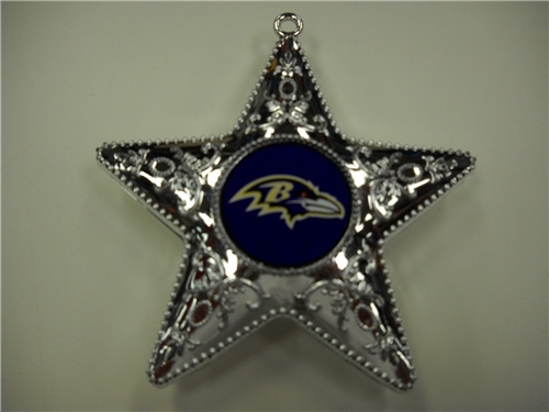 Baltimore Ravens NFL Silver Star Ornament 6ct Box *CLOSEOUT*