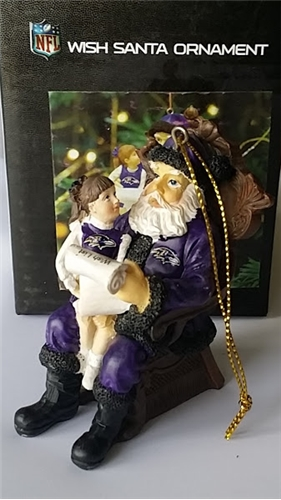 Baltimore Ravens NFL Resin Wish Santa Ornament *SALE*