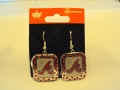 Atlanta Braves MLB Polka Dots Silver Dangle Earrings