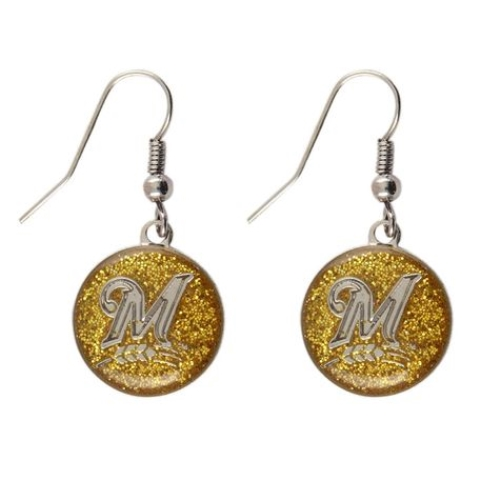 Milwaukee Brewers Glitter Logo MLB Silver Dangle Earrings *CLOSEOUT*