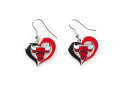Chicago Bulls NBA Silver Swirl Heart Dangle Earrings