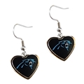 Carolina Panthers NFL Color Heart Silver Dangle Earrings *CLOSEOUT*