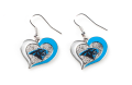 Carolina Panthers NFL Silver Swirl Heart Dangle Earrings