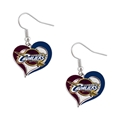 Cleveland Cavaliers NBA Silver Swirl Heart Dangle Earrings *NEW*