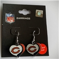 Chicago Bears NFL Silver Glitter Heart Dangle Earrings *SALE*