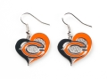 Chicago Bears NFL Silver Swirl Heart Dangle Earrings