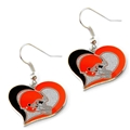 Cleveland Browns NFL Silver Swirl Heart Dangle Earrings *SALE*