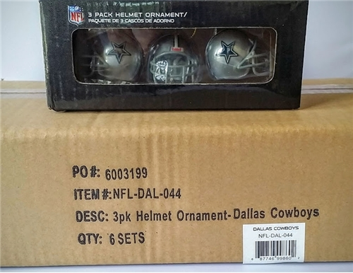 DALLAS COWBOYS NFL 3 Pack Helmet Ornament Set - 6 Count Case