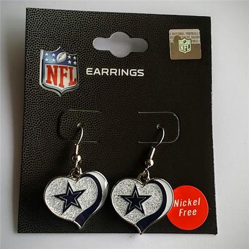 DALLAS COWBOYS NFL Silver Glitter Heart Dangle Earrings *SALE*