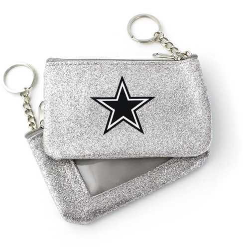 Dallas Cowboys NFL Silver Sparkle Coin Purse Key Ring *NEW*
