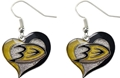 Anaheim Ducks NHL Silver Swirl Heart Dangle Earrings