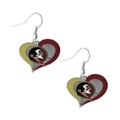 Florida State Seminoles NCAA Silver Swirl Heart Dangle Earrings