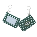 Green Bay Packers NFL Nylon Polka Dot Coin Purse Key Ring