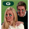 Green Bay Packers NFL Vinyl Face Decorations 6 Pack Eye Black Strips