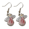 Miami Heat Logo NBA Silver Dangle Earrings