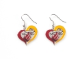 Miami Heat Logo NBA Silver Swirl Heart Dangle Earrings