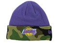 Los Angeles Lakers New Era NBA Fashion Purple with Camo Cuff Knit Hat *CLOSEOUT*