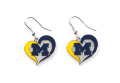 Michigan Wolverines NCAA Silver Swirl Heart Dangle Earrings
