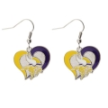 Minnesota Vikings NFL Silver Swirl Heart Dangle Earrings