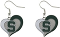 Michigan State Spartans NCAA Silver Swirl Heart Dangle Earrings