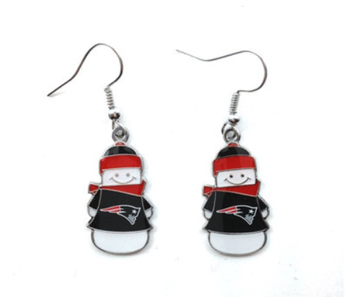 NEW England Patriots Snowman NFL Silver Dangle Earrings