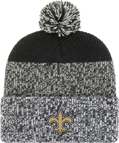 New Orleans SAINTS NFL Black Static Knit Cuff Cap w/ Pom *NEW*