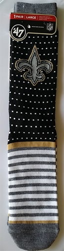 New Orleans SAINTS NFL Black Willard Flat Knit Sock *NEW* Size L