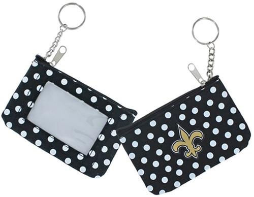 New Orleans SAINTS NFL Nylon Polka Dot Coin Purse Key Ring *NEW*