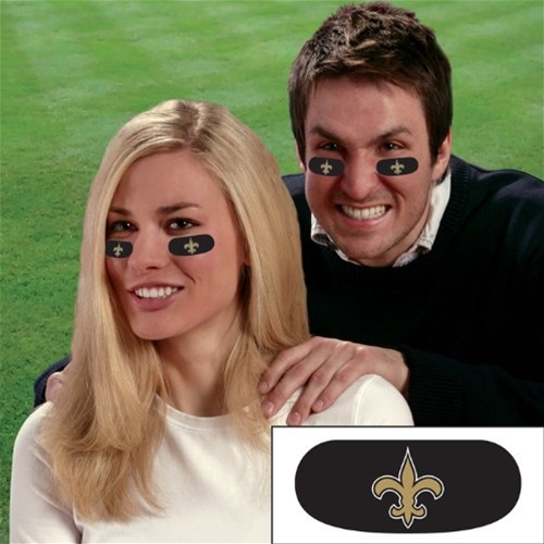 New Orleans SAINTS NFL Vinyl Face Decorations 6 Pack Eye Black Strips *SALE*
