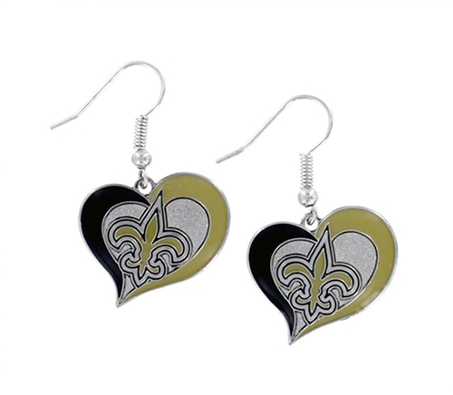 New Orleans SAINTS NFL Swirl Heart Dangle Earrings