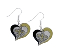 New Orleans Saints NFL Silver Swirl Heart Dangle Earrings