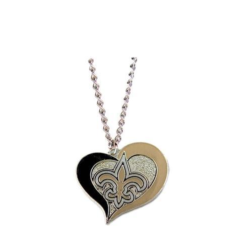 New Orleans SAINTS Swirl Heart NFL Silver Team Pendant Necklace