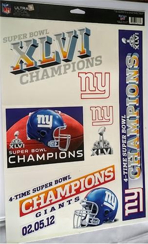 NEW York Giants Super Bowl XLVI Champions NFL 11'' x 17'' Ultra Decal Sheet *CLOSEOUT* - 67 Count Lot