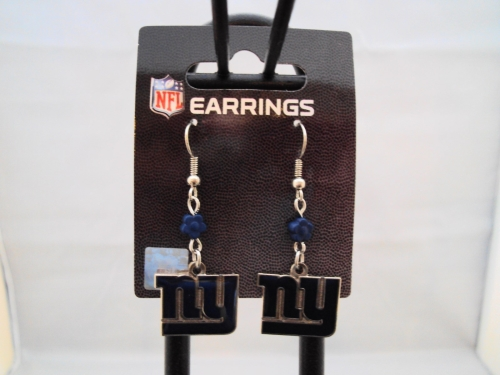 NEW York Giants NFL Sophie Flower Bead Silver Dangle Earrings *CLOSEOUT*