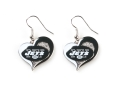 New York Jets NFL Silver Swirl Heart Dangle Earrings