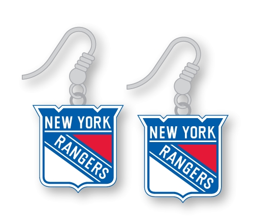 NEW York Rangers NHL Silver Dangle Earrings