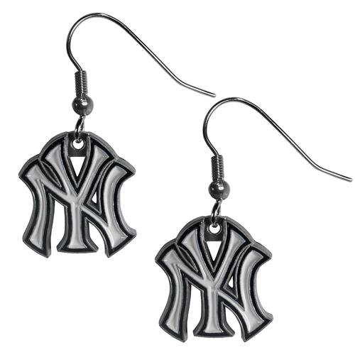 New York YANKEES MLB Silver Dangle Earrings