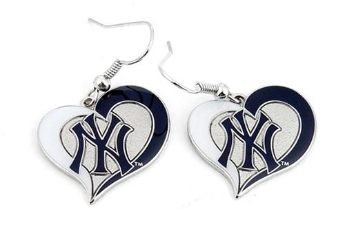 New York YANKEES MLB Silver Swirl Heart Dangle Earrings