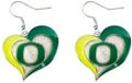 Oregon Ducks NCAA Silver Swirl Heart Dangle Earrings