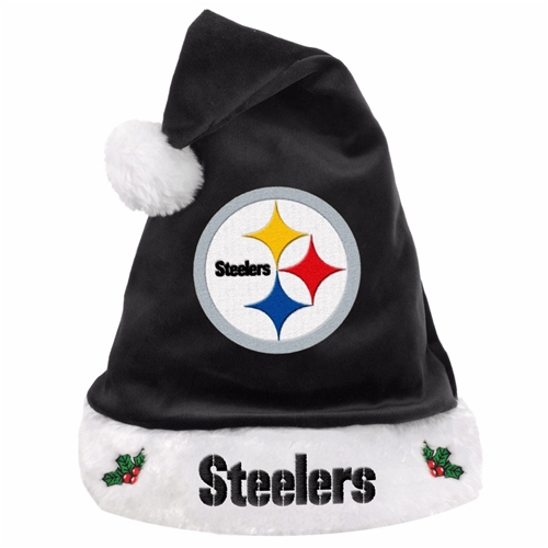 Pittsburgh Steelers NFL Solid Black HOLIDAY 18'' Christmas Santa Hat *NEW*