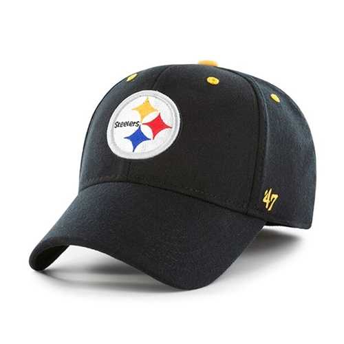 Pittsburgh STEELERS NFL Black Kick Off Contender Stretch Fit Hat *NEW* Size S/M