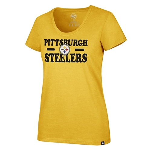 Pittsburgh Steelers NFL Galley Gold Glitz Women's Club Scoop Neck Tee *NEW*