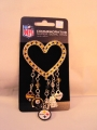 Pittsburgh Steelers NFL Black and Gold Rhinestone Silver Heart 5 Charm Brooch Pin *CLOSEOUT*