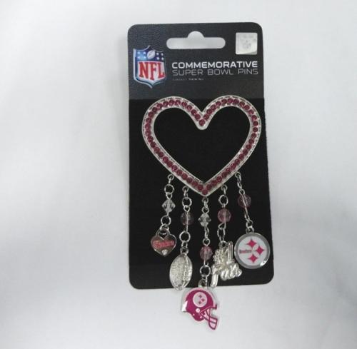 Pittsburgh Steelers NFL Pink Rhinestone Silver Heart 5 CHARM Brooch Pin *SALE*