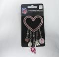Pittsburgh Steelers NFL Pink Rhinestone Silver Heart 5 Charm Brooch Pin *CLOSEOUT*